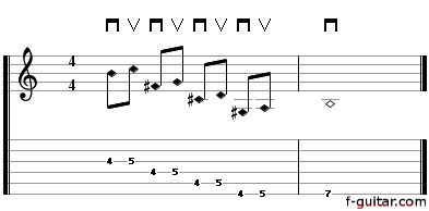 A melodic exercise to practice playing natural harmonics - guitar tablature