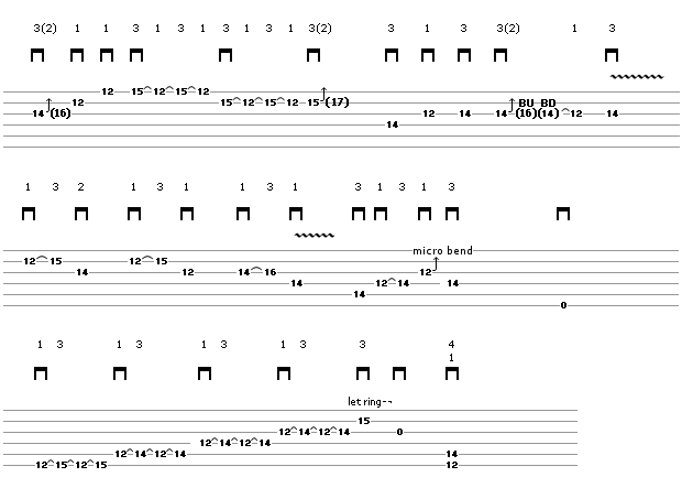 Guitar Solo - String  Bending Technique (tablature)
