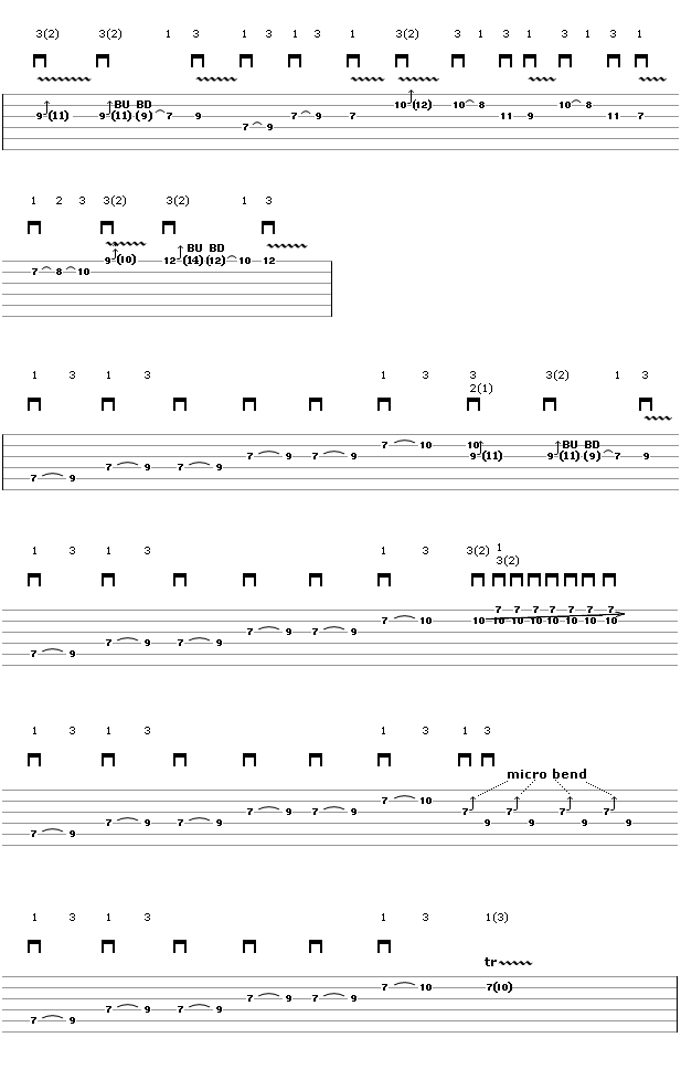 Vibrating String Bends Solo - Guitar Tablature