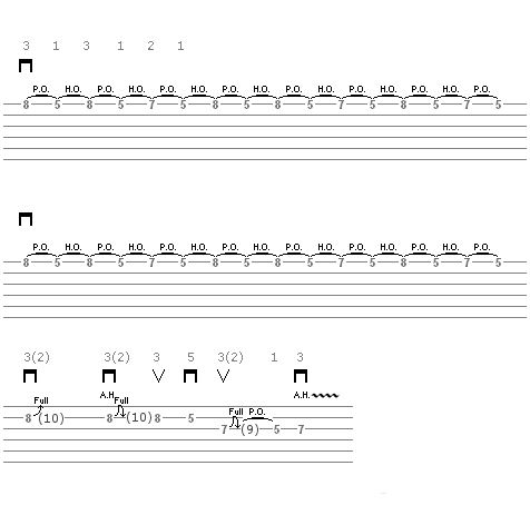 Lick 12 (little swift solo) - guitar tablature