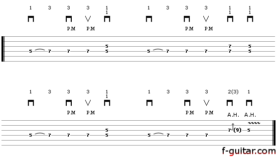 Lick 11 (groovie) - guitar tablature