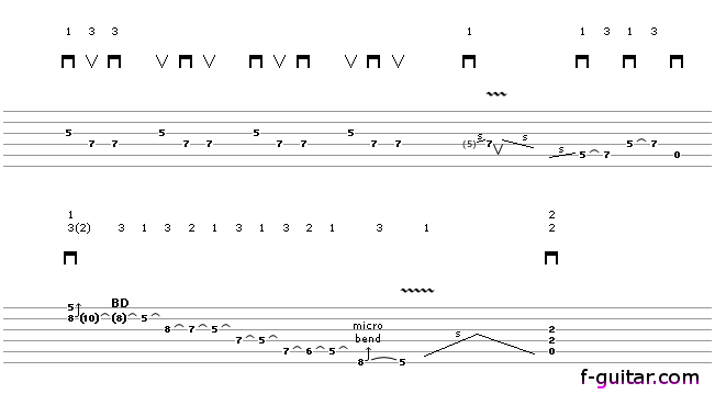 Lick 3 - guitar tablature